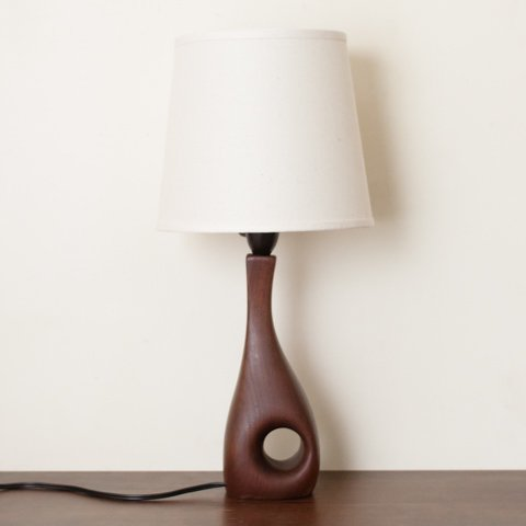 DENMARK ORGANIC FORM SOLID TEAK BASE TABLE LAMP