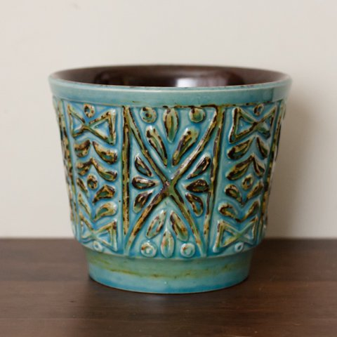 WEST GERMANY BLUE/BROWN CERAMIC FLOWER POT