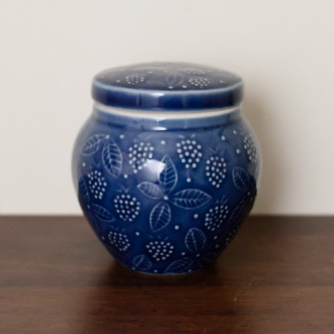 ARABIA FINLAND BLUE CANDY POT FOR CHYMOS OY