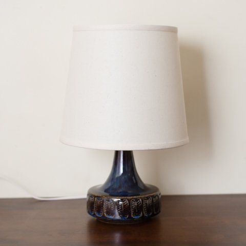 DENMARK SOHOLM NAVY BLUE LEAF PATTERN CERAMIC BASE TABLE LAMP