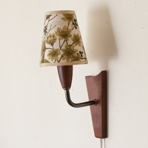 DENMARK TEAK WALL LAMP/VINTAGE FLOWER PATTERN SHADE