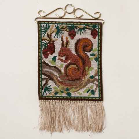 SWEDEN TVISTSOM EMBROIDERY TAPESTRY SQUIRREL