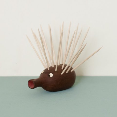 DENMARK SOLID TEAK HEDGEHOG TOOTH PICK HOLDER