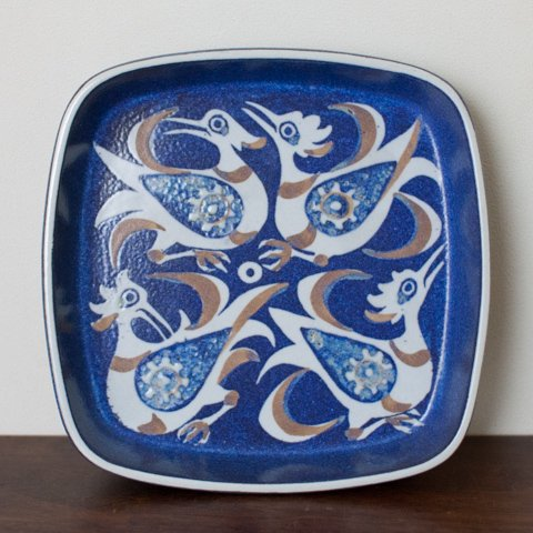 ROYAL COPENHAGEN Nils Thorsson BACA BLUE BIRDS TRAY