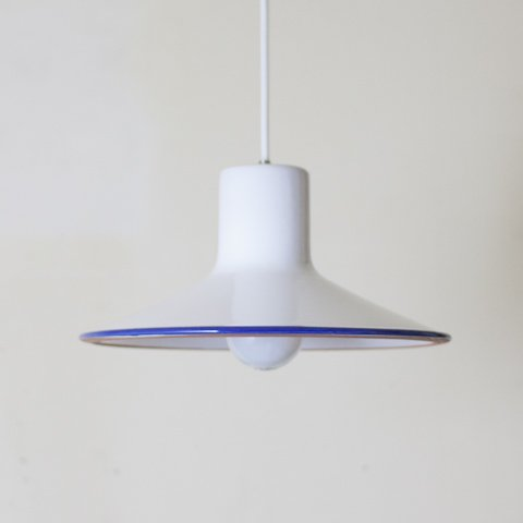 EUROPEAN MILKY WHITE/BLUE LINE CERAMIC PENDANT LAMP (A)