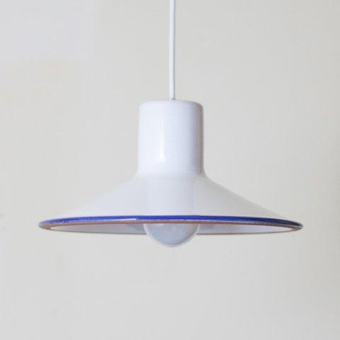 EUROPEAN MILKY WHITE/BLUE LINE CERAMIC PENDANT LAMP (B)