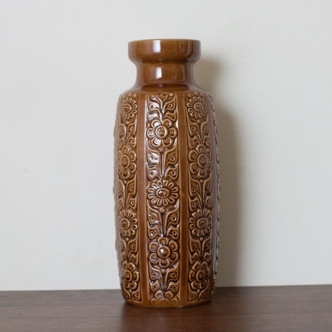 W. GERMANY LT.BROWN TALL VASE