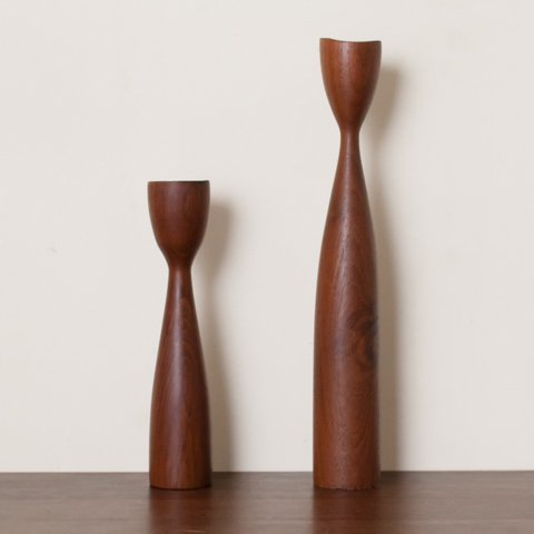 DENMARK SOLID TEAK CANDLE HOLDER SET