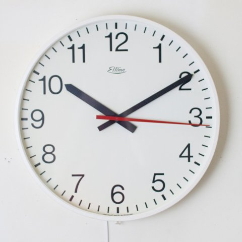 DENMARK Eltime WHITE LARGE SIZE ELECTRIC WALL CLOCK