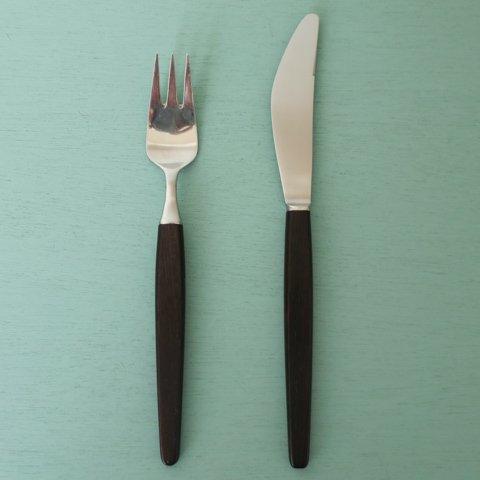 DENMARK LUNDTOFTE ECKHOFF ROSEWOOD HANDLE KNIFE&FORK SET