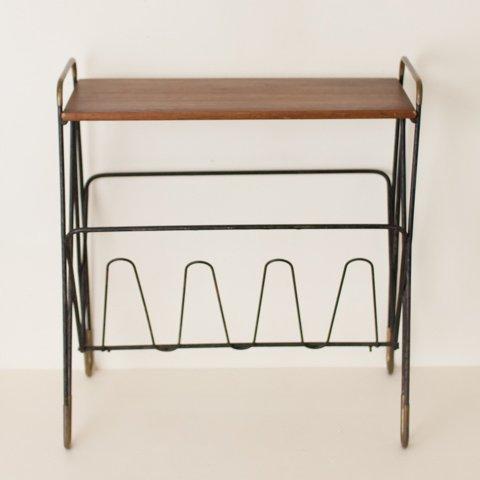 DENMARK BLACK IRON/SOLID TEAK SIDE TABLE