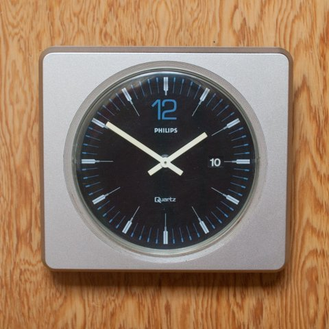 GERMANY PHILIPS SILVER GREY CLOCK w/DATE