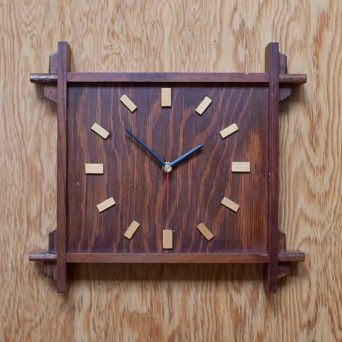 DENMARK TEAK COLOR WOOD CLOCK