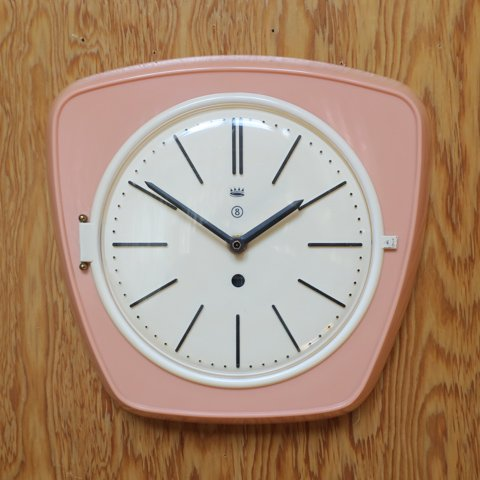 GERMANY POWDER PINK PLASTIC CLOCK