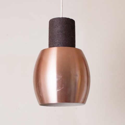 DENMARK DK.BROWN CERAMIC/COPPER SHADE PENDANT LAMP