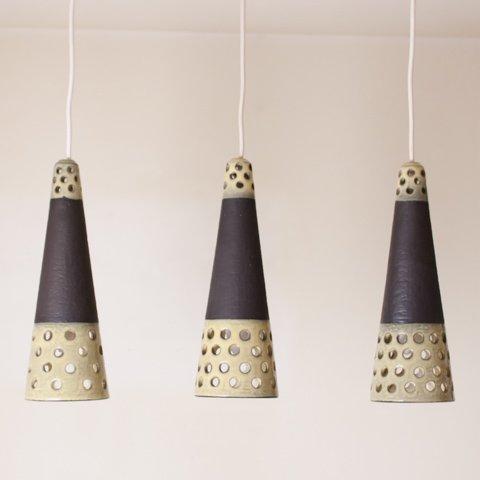 DENMARK DK.BROWN/LT.BEIGE CERAMIC PENDANT LAMP SET