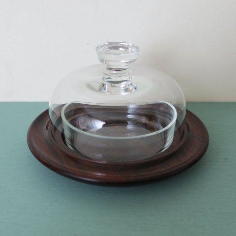 DENMARK ROSEWOOD BASE GLASS CHEESE DOME