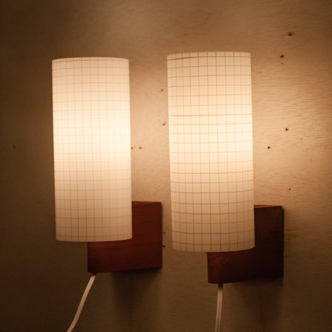 DENMARK TEAK/WHITE PRESSING GLASS SHADE WALL LAMP SET
