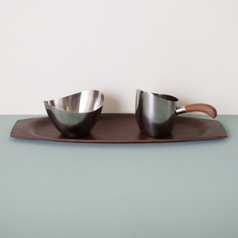 DENMARK STAINLESS SUGAR POT&CREAMER&TEAK TRAY SET
