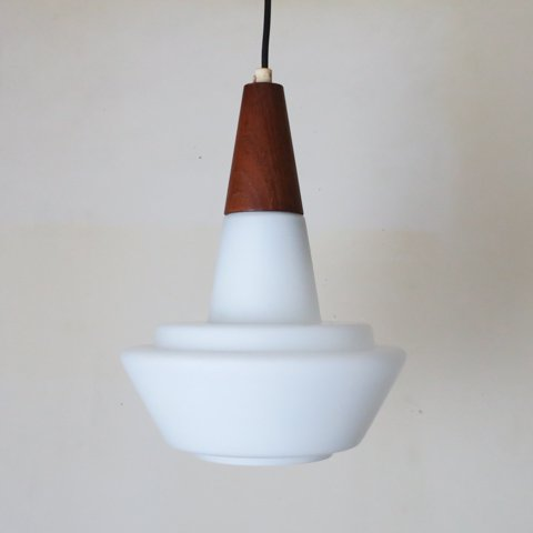 DENMARK MILKY WHITE GLASS/TEAK TOP  PENDANT LAMP