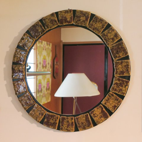 DENMARK BROWN TILE ROUND MIRROR