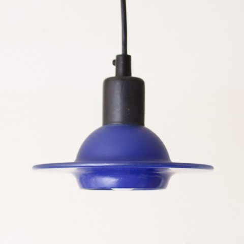 DENMARK BLUE GLASS UFO STYLE SHADE LAMP