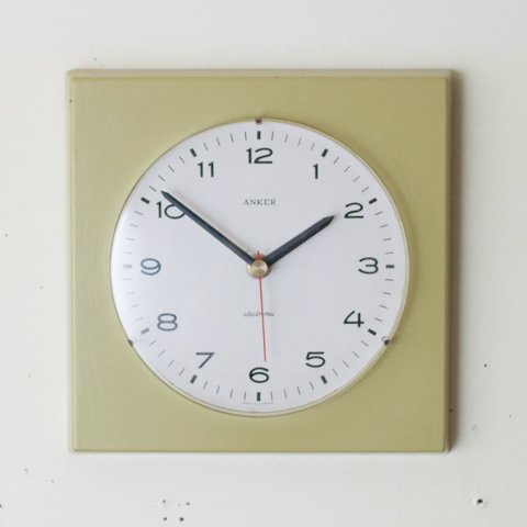 GERMANY ANKER OLIVE GREEN PAINTED WALL CLOCK