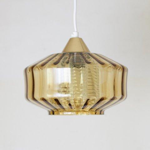 DENMARK AMBER GLASS DOUBLE SHADE PENDANT LAMP