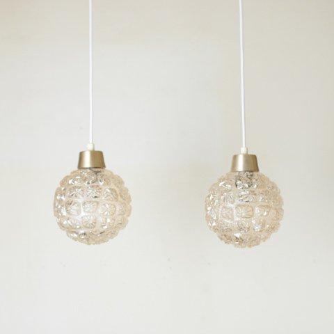 DENMARK PALE AMBER PRESSING GLASS ROUND SHADE LAMP SET