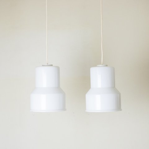 DENMARK MILKY WHITE/CLEAR DOUBLE GLASS SHADE LAMP SET