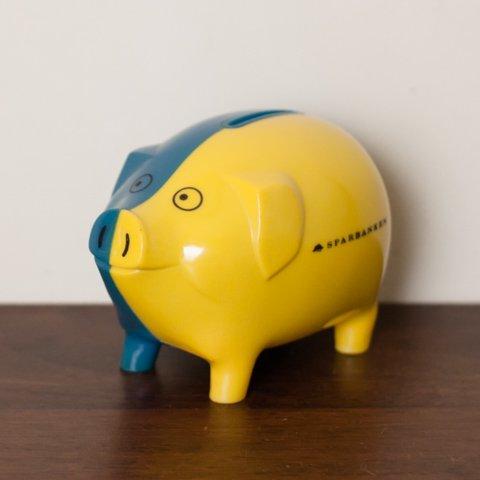 FINLAND SPARBANKEN BLUE/YELLOW COIN BANK