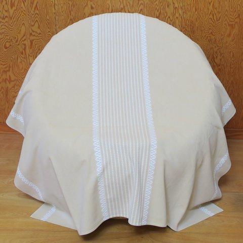 DENMARK SAND BEIGE/LIGHT GREY/WHITE STRIPE PATTERNED CHAMBRAY TABLE CLOTH