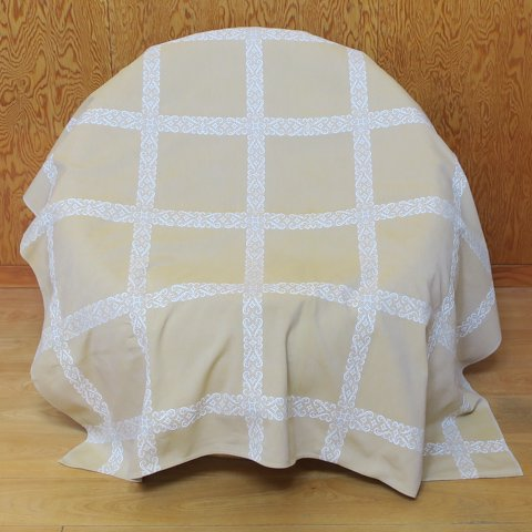 DENMARK BEIGE/LIGHT BLUE GREY/WHITE PATTERNED CHAMBRAY TABLE CLOTH