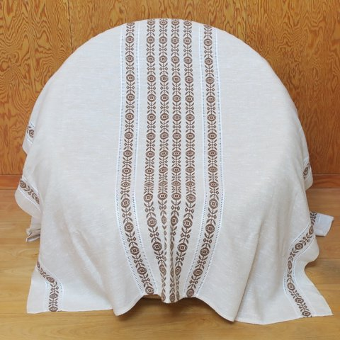 DENMARK IVORY/WHITE/BROWN PATTERNED CHAMBRAY TABLE CLOTH