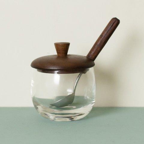 DENMARK GLASS POT /TEAK LID WITH SPOON