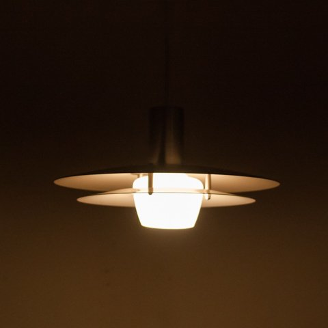 DENMARK SILVER STEEL 2 SHADES/WHITE GLASS SHADE PENDANT LAMP