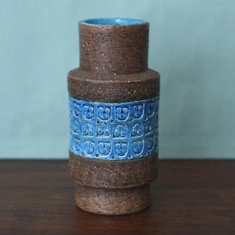 ITALY BROWN/BLUE LARGE VASE