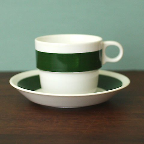 SWEDEN GUSTAVSBERG GREEN STRIP COFFEE C/S