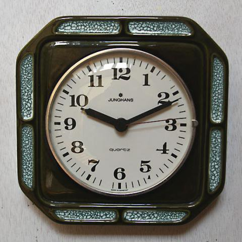GERMANY JUNGHANS DARK GREEN CLOCK