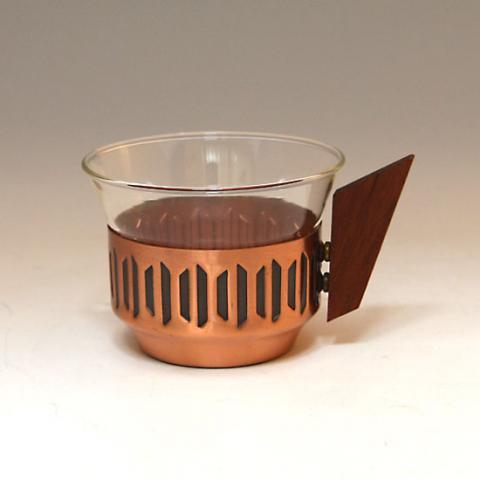 W.GERMANY JENA GLASS CUP & COPPER/TEAK HOLDER