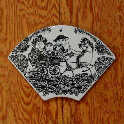 DENMARK NYMOLLE Bjorn Wiinblad GALOP HAPPY FAMILY PLAQUE