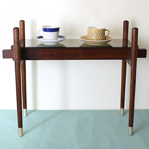 DENMARK SOLID TEAK/GLASS TOP SIDE TABLE