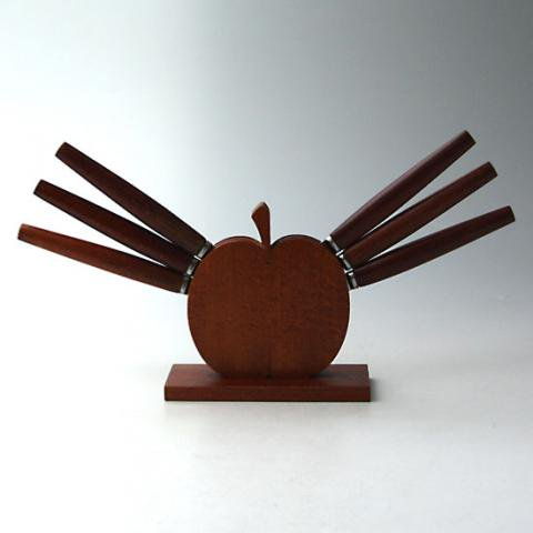 SWEDEN APPLE HOLDER TEAK FRUITS KNIFE SET