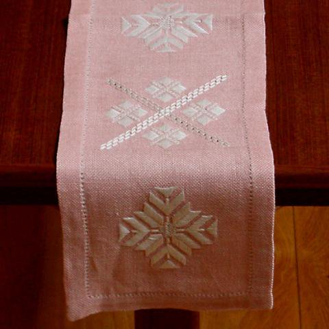 SWEDEN SALMON PINK EMBROIDERY TABLE RUNNER
