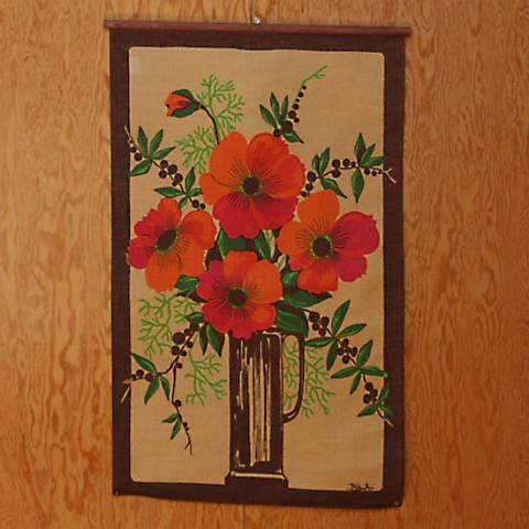 SWEDEN JUTE ORANGE FLOWER WITH VASE TAPESTRY