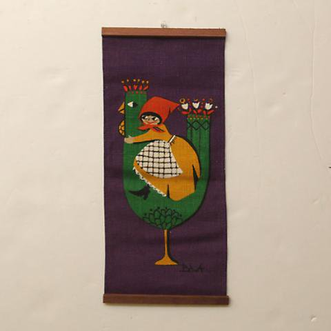 SWEDEN CUTE GREEN BIRD WITH CUTE GIRL TAPESTRY