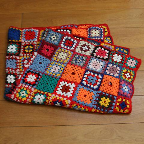 DENMARK RED BASE GRANNY BLANKET