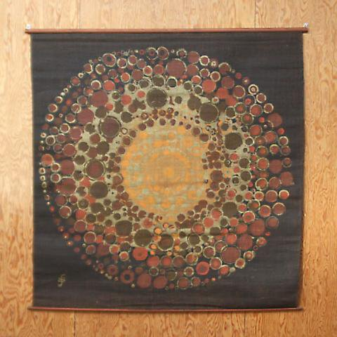 SWEDEN JUTE DK.BROWN LARGE FLOWER TAPESTRY