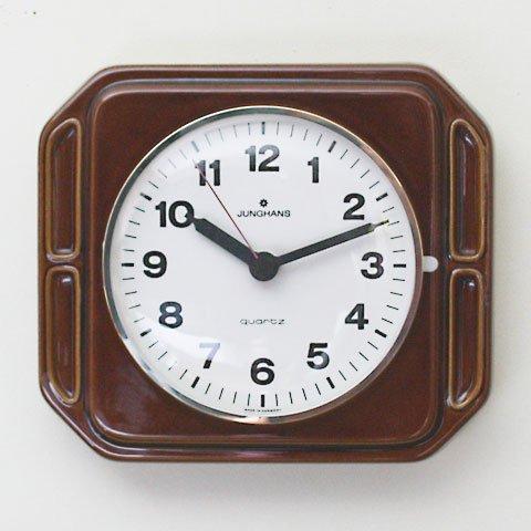 W.GERMANY JUNGHANS BROWN CERAMIC CLOCK