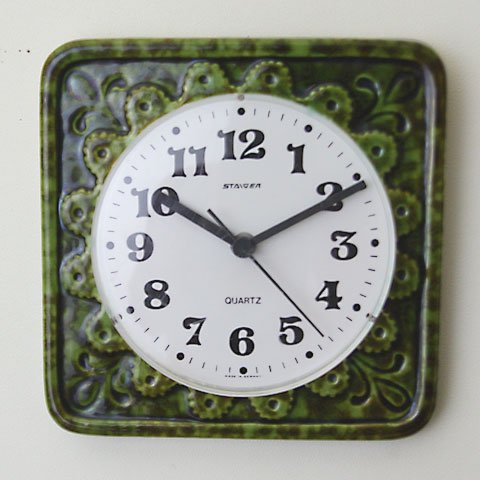 W.GERMANY STAIGER GREEN CERAMIC CLOCK